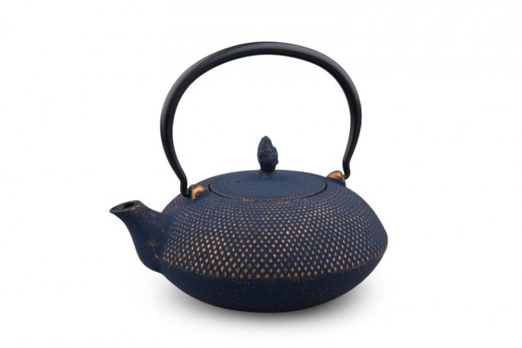 Teekanne Gusseisen Arare 1,2L (nachtblau / gold)