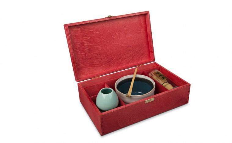 Matcha Geschenk-Set 'Ima', offene Box, rot