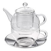 Glas Tea for one Set 'Modern Art' 280ml, Glassieb, Edelstahluntertasse