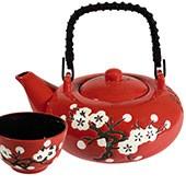Keramik Teekanne 'Weiße Blüte mit Cup