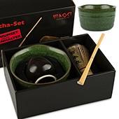 Matcha-Set Premium von MAOCI, 400ml außen dunkelgrün, offen