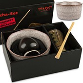 Matcha-Set Premium von MAOCI, 400ml hellgrau, offen
