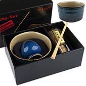 Matcha-Geschenkset Premium von MAOCI, blaue Schale im Hochglanz-Karton, offen
