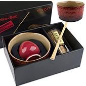 Matcha-Geschenkset Premium von MAOCI, gelb-rötlich bemusterte Schale, offen