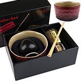 Matcha-Set Premium von MAOCI, 400ml außen mit weiß-rotem Muster, offen