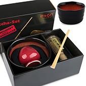 Matcha-Geschenkset Premium von MAOCI, dunkel-rote Schale im Hochglanz-Karton, offen