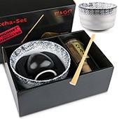 Matcha-Geschenkset Premium von MAOCI, helle Schale im Hochglanz-Karton, offen