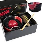 Matcha-Geschenkset Premium von MAOCI, schwarz-rötliche Schale im Hochglanz-Karton, offen