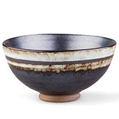Tee-Schale 200ml - dunkel mit hellen Randstreifen