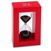 Teatimer / Sanduhr, 2 min, roter Rahmen, schwarzer Sand