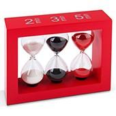 Teatimer / Sanduhr, 2 Min., 3 Min. & 5 Min, roter Rahmen