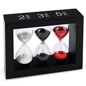 Teatimer / Sanduhr, 2 Min., 3 Min. & 5 Min, schwarzer Rahmen