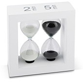 Teatimer / Sanduhr, 2 Min., & 5 Min, weißer Rahmen