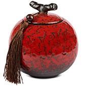 Porzellan Teedose, rot 500ml geschlossen