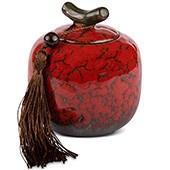 Porzellan Teedose, rot 200ml geschlossen