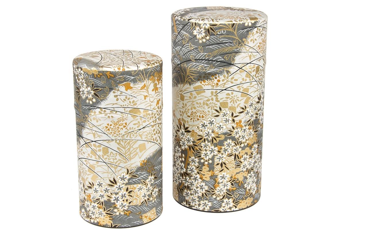Japanische Teedose mit Seidenpapier 375g schwarz-weiß Vorratsdose Tee Dose