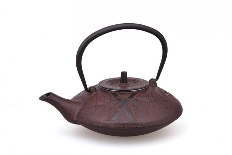 MAOCI Gusseisen-Teekanne Kitami flach (weinrot) - 1,2L