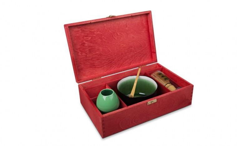 Matcha Geschenk-Set 'Naha' , offene Box, rot