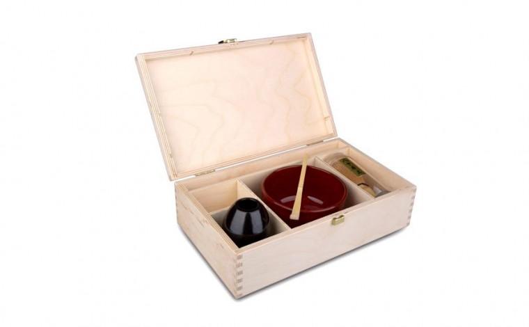 Matcha Geschenk-Set Ikoma, naturfarbene Holzbox