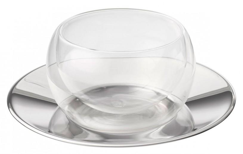 Doppelwandiges Glas Cup 'Modern Art' 150 ml, Edelstahluntersetzer