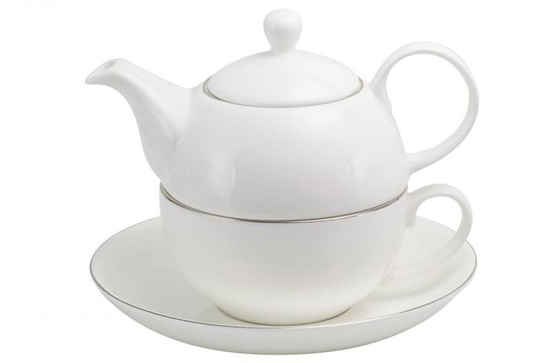 Porzellan Fine Bone China Tea for One 'Platin' (500ml, 3tlg.)