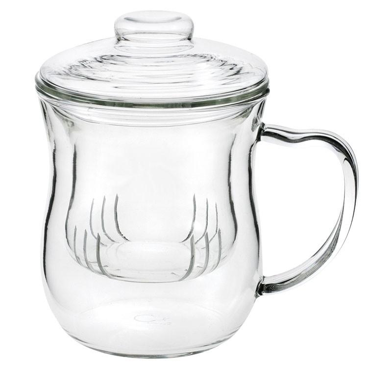Teetasse mit Sieb und Deckel aus Glas, 0,3L