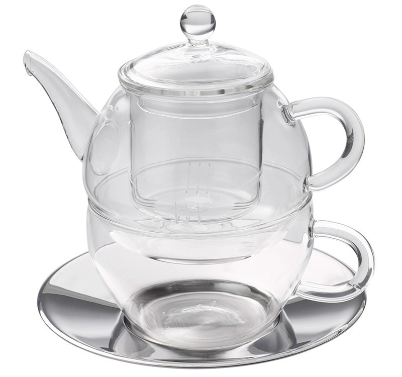 Glas Tea for one Set 'Modern Art' 280ml, Glassieb, Edelstahluntertasse