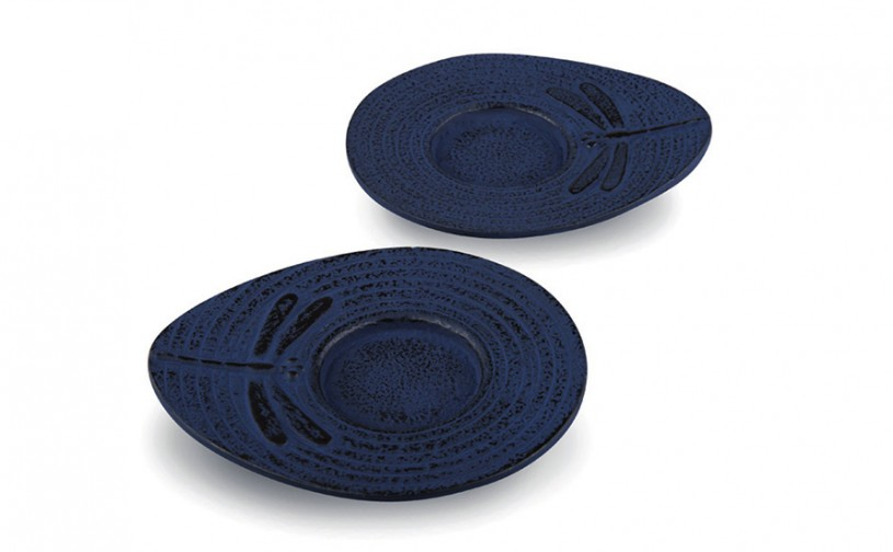 Gusseisen Cup-Untersetzer Mito (nachtblau), 2 Stück