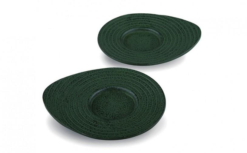 Gusseisen Cup-Untersetzer Ume (grün), 2 Stück