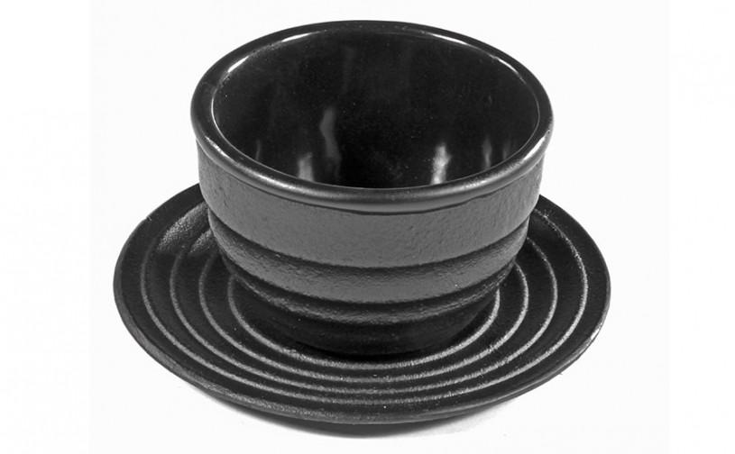Gusseisen-Teacup mit Untersetzer schwarz, 0,1L