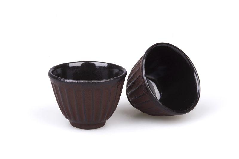 MAOCI Gusseisen-Teacups Fuju (weinrot), 2 Stück, 0,15L