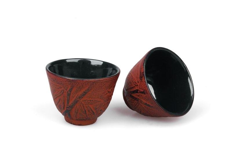 MAOCI Gusseisen-Teacups Kitami (kaminrot), 2 Stück, 0,15L