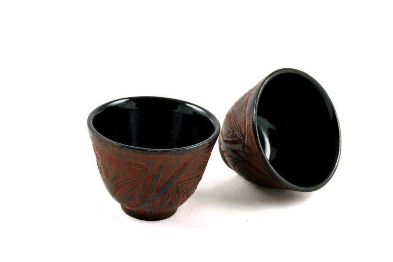 MAOCI Gusseisen-Teacups Kitami (weinrot), 2 Stück, 0,15L