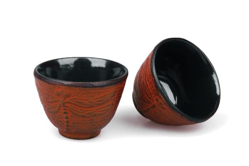 MAOCI Gusseisen-Teacups Mito (kaminrot), 2 Stück, 0,15L