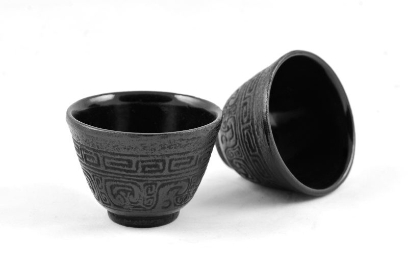 MAOCI Gusseisen-Teacups Nanyang (schwarz), 2 Stück, 0,15L