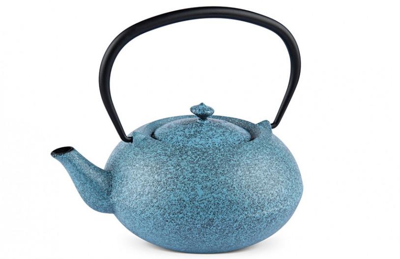 MAOCI Gusseisen-Teekanne Komo (sprayed, himmelblau) - 1,0L