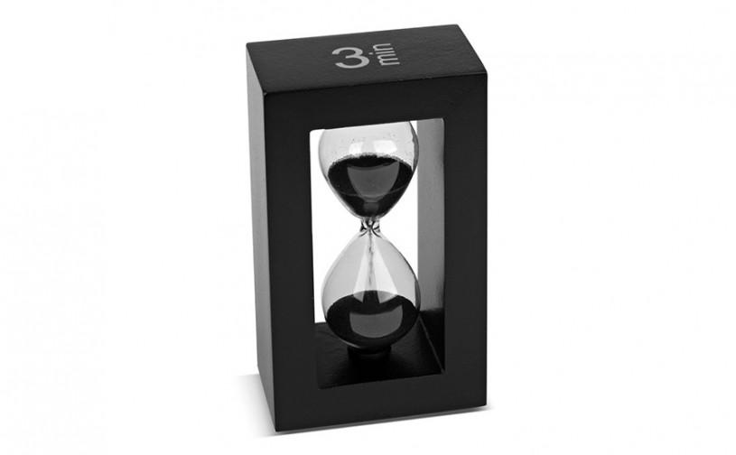 Teatimer / Sanduhr, 3 Min., schwarzer Rahmen, schwarzer Sand