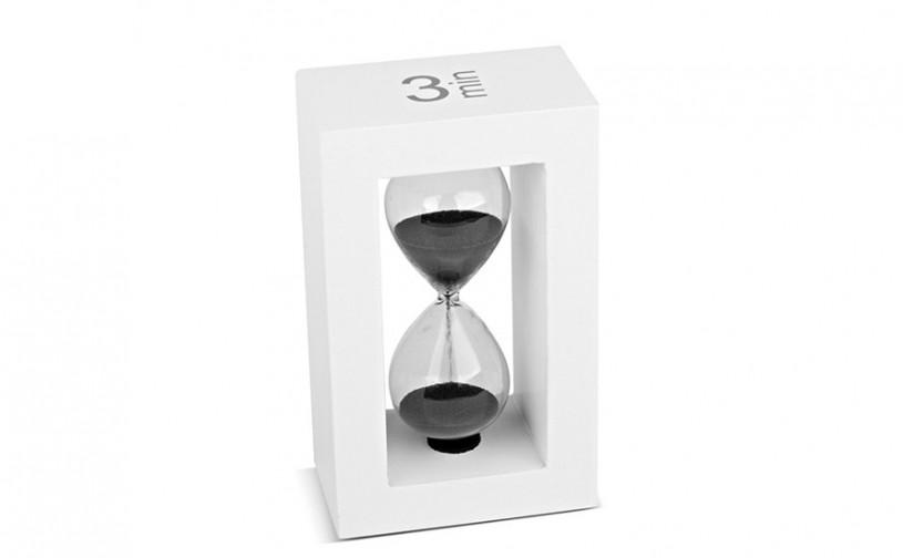 Teatimer / Sanduhr, 3 Min., weißer Rahmen, schwarzer Sand