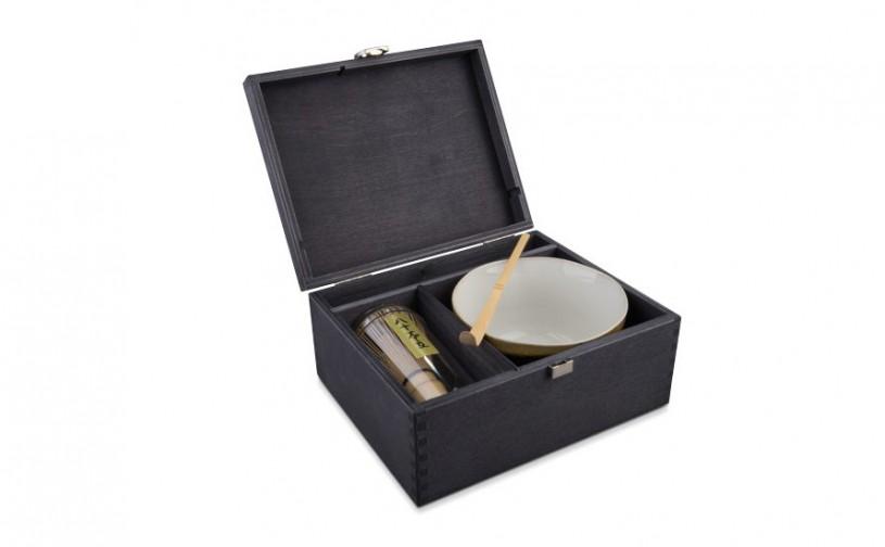 Matcha Geschenk-Set Daito, schwarze Geschenkbox