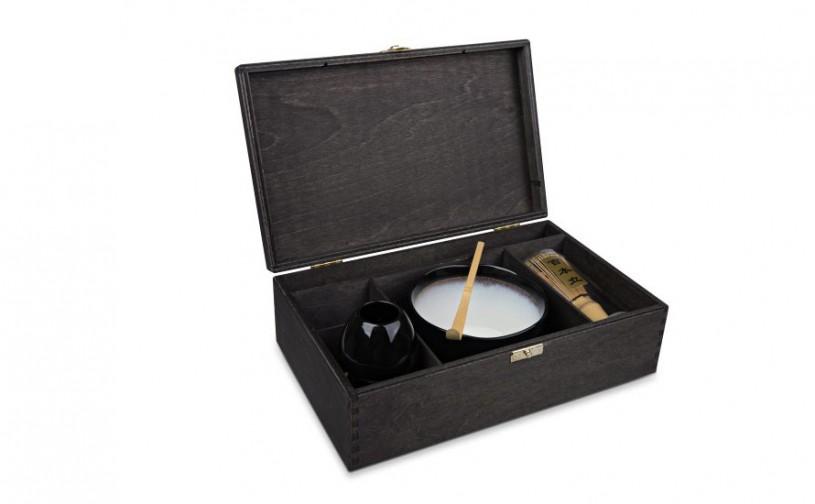 Matcha Geschenk-Set 'Hoshi', offene Box, schwarz