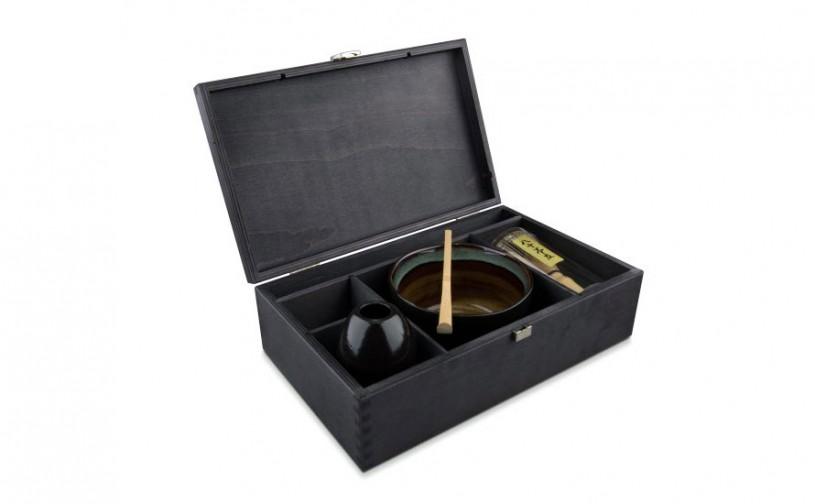 Matcha Geschenkset Hakashi, in schwarzer Holzbox