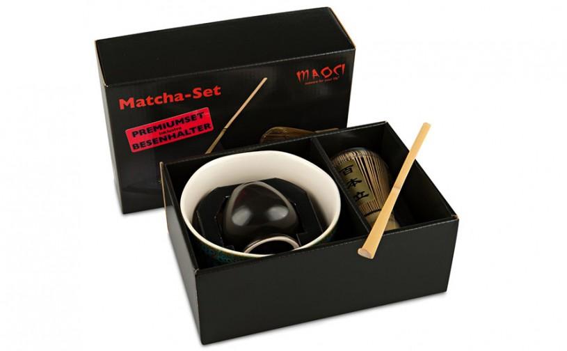 Matcha-Set Premium von MAOCI, 400ml außen bemustert, offen