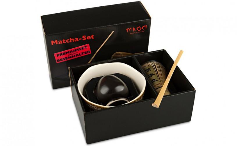 Matcha-Set Premium von MAOCI, 400ml außen bräunlich bemustert, offen