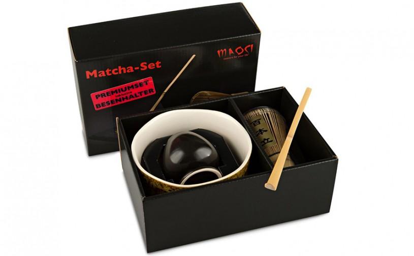 Matcha-Set Premium von MAOCI, 400ml außen gelblich bemustert, offen