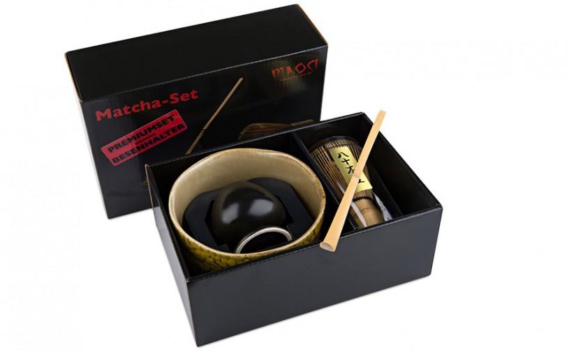 Matcha-Geschenkset Premium von MAOCI, 400ml außen mit gelblichem Muster, offen