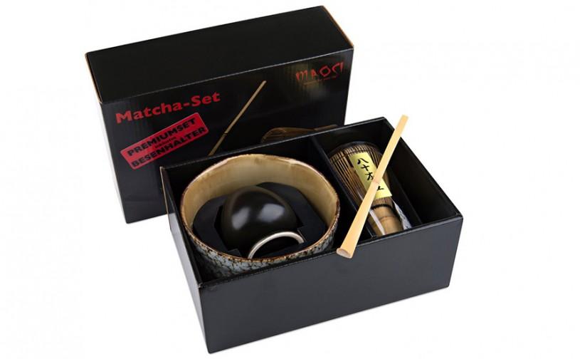 Matcha-Geschenkset Premium von MAOCI, 400ml außen mit hellem Muster, offen