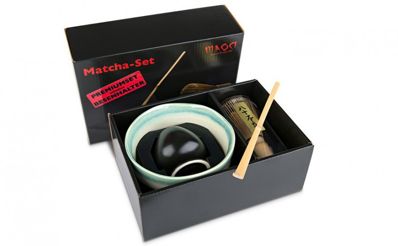 Matcha-Geschenkset Premium von MAOCI, hell-dunkle Schale im Hochglanz-Karton, offen