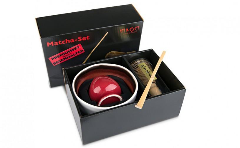 Matcha-Geschenkset Premium von MAOCI, hell-rötliche Schale im Hochglanz-Karton, offen