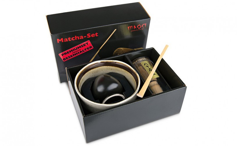 Matcha-Geschenkset Premium von MAOCI, gesprenkelte Schale im Hochglanz-Karton, offen