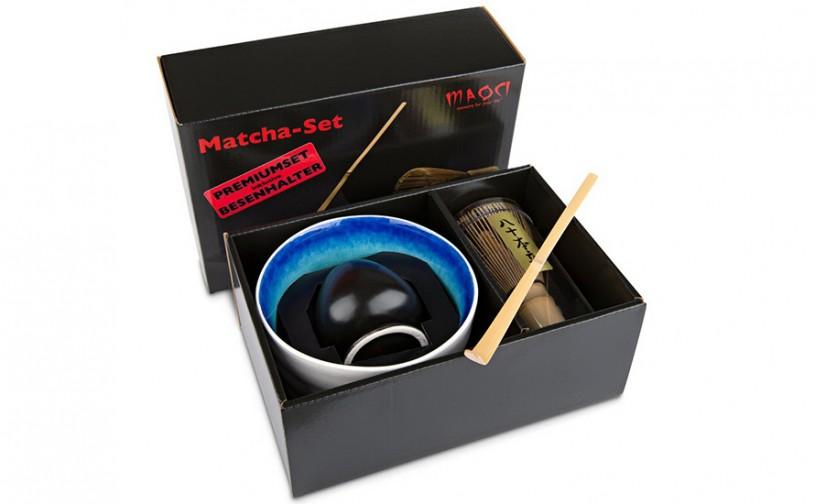 Matcha-Geschenkset Premium von MAOCI, weiß-blaue Schale im Hochglanz-Karton, offen